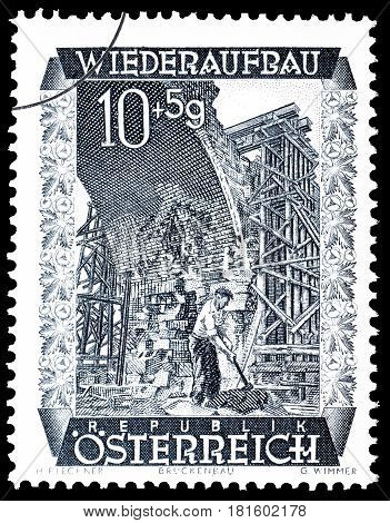 AUSTRIA - CIRCA 1948 : Cancelled postage stamp printed by Austria, that shows Laabenbach viaduct.