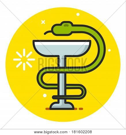 Snake with a cup vector illustration design