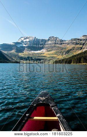 Canoe on Bertha Lake, Waterton Lakes National Park