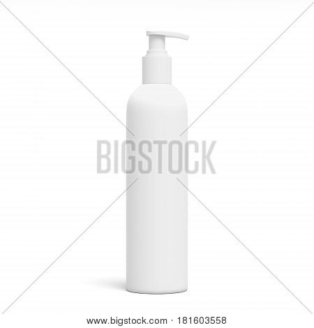 Blank white cosmetic bottle, isolated on white background, 3D rendering. Dispenser for cream, soaps, foams and other cosmetics.