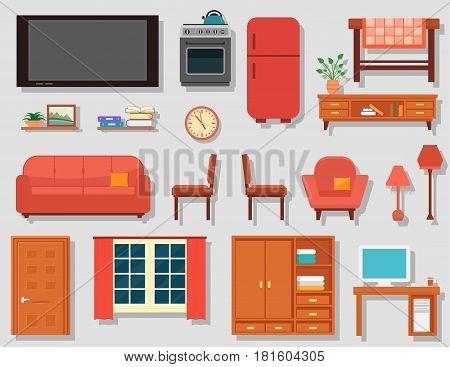 furniture set for home room interior. furniture set for furnishing house or furnishing living room or work room