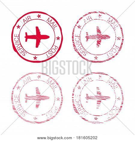 Air mail post service red faded round stamp. Vector illustration