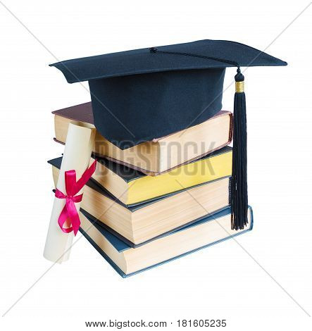 Black graduate hat stack of big books and paper scroll tied with red ribbon with a bow isolated on white background