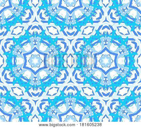 Kaleidoscope Pattern. Seamless blue background. Mandala geometric graphic print. Psychedelic design element for wallpaper, scrapbooking, fabric. Flower vector illustration
