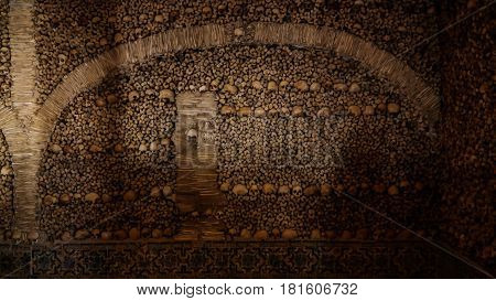 Interior of Chapel of the Bones in Evora Portugal