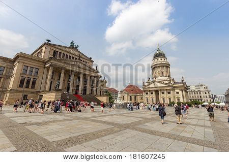 BERLIN GERMANY - MAY 23 2014: German Cathedral and the Concert Hall on the Gendarmenmarkt Square in Berlin Germany.