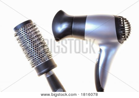 Black Comb And Hair-Dryer