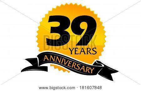 39 Years Ribbon Anniversary Congratulation Celebration Ceremony