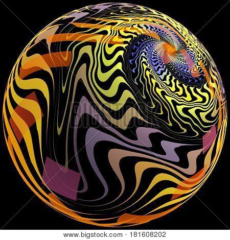 Abstract fractal illustration for creative design looks like ball