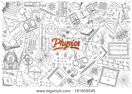 Hand drawn Physics doodle set background with red lettering in vector