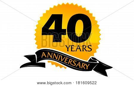 40 Years Ribbon Anniversary Congratulation Celebration Ceremony