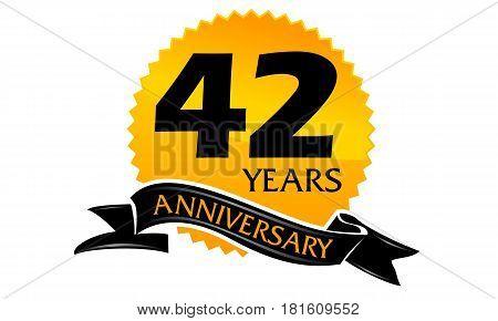 42 Years Ribbon Anniversary Congratulation Celebration Ceremony