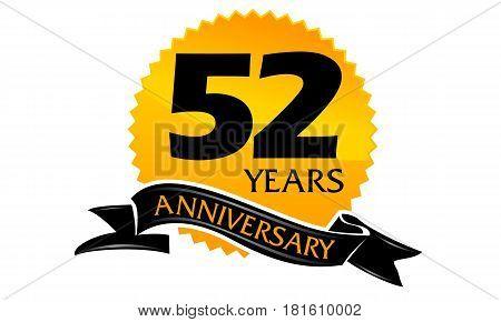 52 Years Ribbon Anniversary Congratulation Celebration Ceremony