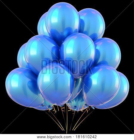 Party balloons blue happy birthday decoration cyan glossy. 3D illustration isolated on black