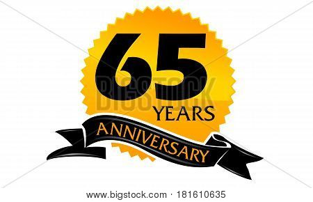 65 Years Ribbon Anniversary Congratulation Ceremony Modern