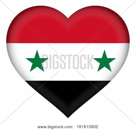 Illustration of the flag of Syria shaped like a heart