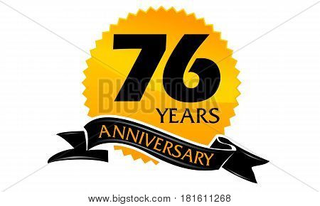 76 Years Ribbon Anniversary Congratulation Ceremony Modern