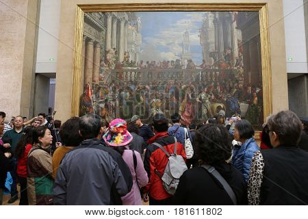 Visitors In The Great Gallery, The Louvre, Paris, France
