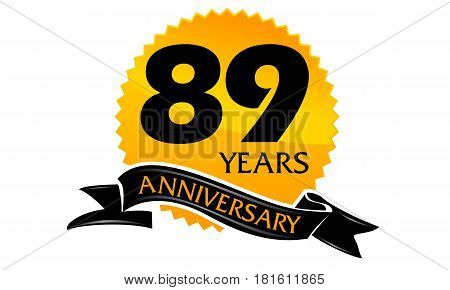 89 Years Ribbon Anniversary Congratulation Ceremony Modern