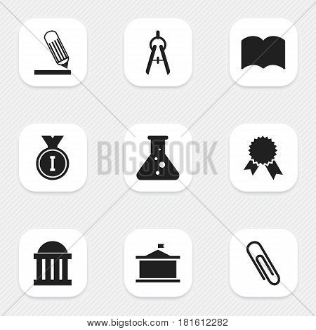 Set Of 9 Editable School Icons. Includes Symbols Such As Staple, Dictionary, Univercity And More. Can Be Used For Web, Mobile, UI And Infographic Design.