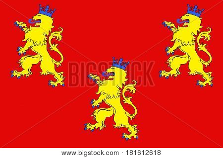Flag of Dordogne is a department in southwestern France with its prefecture in Perigueux. The department is located in the region of Nouvelle-Aquitaine. Vector illustration