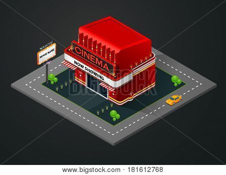 isometric cinema isometric theater building vector illustration