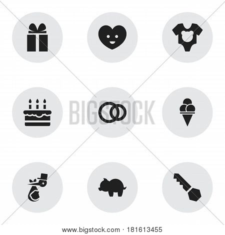 Set Of 9 Editable Folks Icons. Includes Symbols Such As Patisserie, Moneybox, Bodysuit And More. Can Be Used For Web, Mobile, UI And Infographic Design.