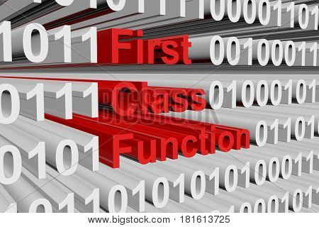 First class function in the form of binary code, 3D illustration