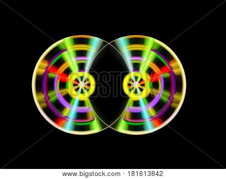 Two colorful turnable DJ discs computer generated abstract background 3D rendering