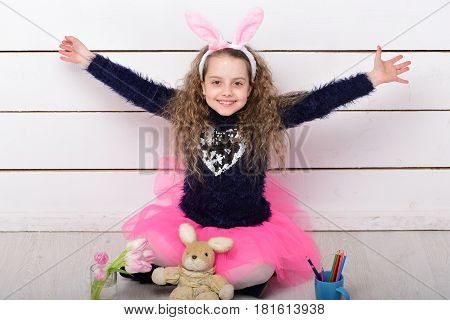Happy Girl With Easter Rabbit Toy, Pencil, Tulip Flowers