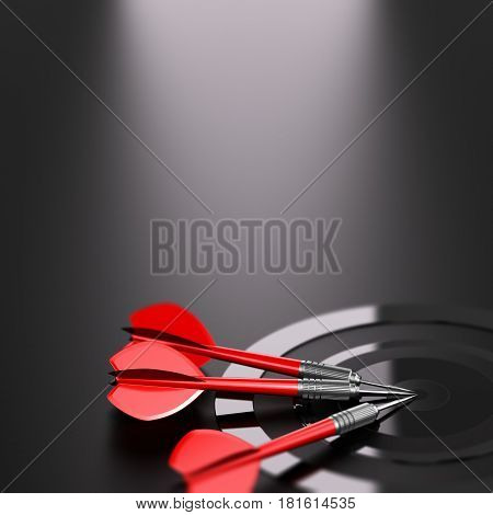 3D illustration of one target and three red darts over black background. Strategic business or marketing strategy concept.