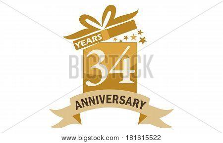34 Years Gift Box Ribbon Anniversary  Congratulations