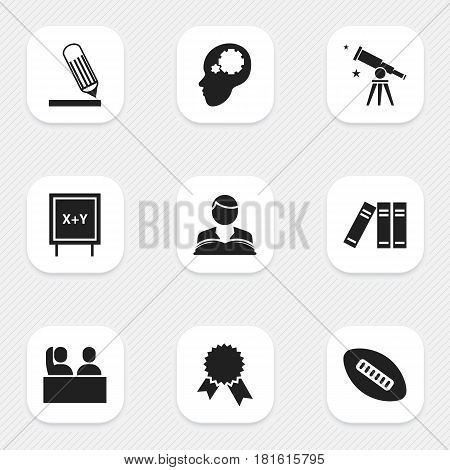 Set Of 9 Editable Science Icons. Includes Symbols Such As Oval Ball, Student, Victory Medallion And More. Can Be Used For Web, Mobile, UI And Infographic Design.