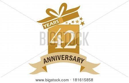 42 Years Gift Box Ribbon Anniversary Congratulation