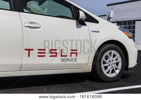 Indianapolis - Circa April 2017: Tesla Service Vehicle. Ironically, Tesla Uses A Toyota Prius Hybrid