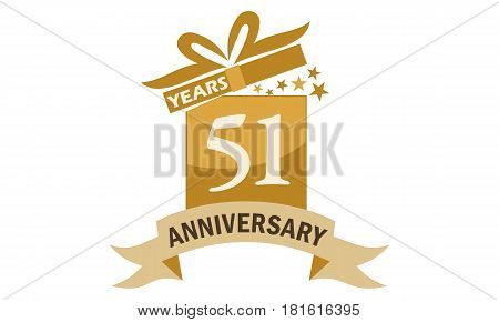 51 Years Gift Box Ribbon Anniversary Congratulation