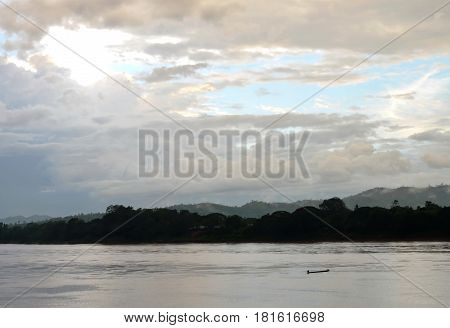 fishery wooden row boat on Mekong river in Thailand