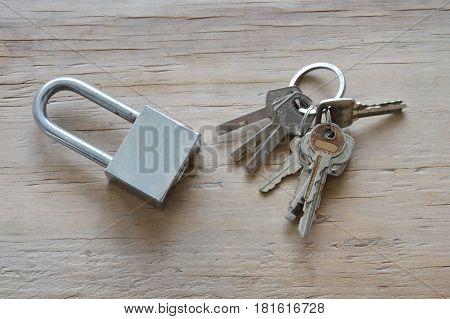 master key and key chain for find matching on wooden board
