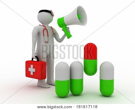 Medic with a pill and megaphone .  rendered illustration