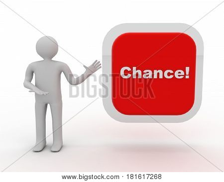 3d people - man person and big red button. Chance! 3d rendered illustration