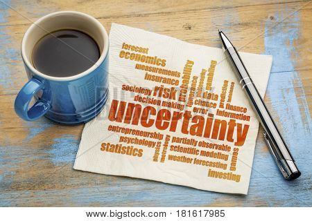 uncertainty and risk word cloud on a napkin with a cup of coffee