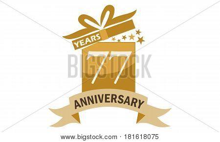 77 Years Gift Box Ribbon Anniversary Congratulation