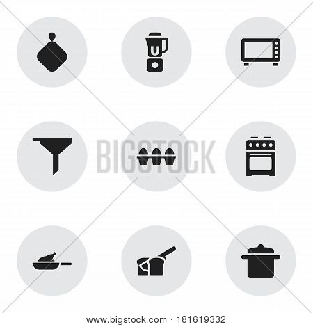 Set Of 9 Editable Meal Icons. Includes Symbols Such As Filtering, Bakery, Oven And More. Can Be Used For Web, Mobile, UI And Infographic Design.