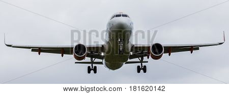 An Easyjet Airliner Fills The Frame As It Comes Into Land