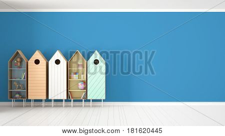 Scandinavian minimalist blue background with colorful bookshelf on white parquet flooring child kids room interior design, 3d illustration