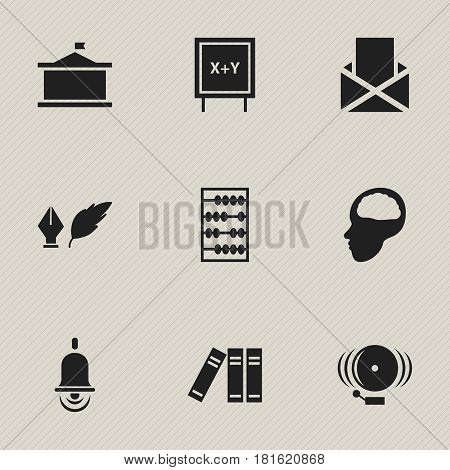Set Of 9 Editable Science Icons. Includes Symbols Such As Cerebrum, Bookshelf, Univercity And More. Can Be Used For Web, Mobile, UI And Infographic Design.