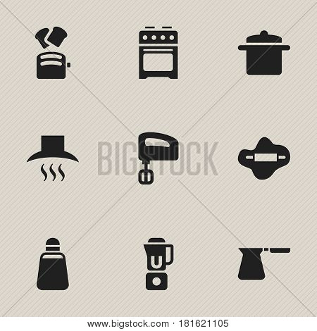 Set Of 9 Editable Cooking Icons. Includes Symbols Such As Kitchen Hood, Slice Bread, Cookware And More. Can Be Used For Web, Mobile, UI And Infographic Design.