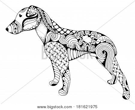 Zentangle stylized cartoon dog isolated on white background. Hand drawn sketch for adult antistress coloring page T-shirt emblem logo or tattoo with doodle zentangle design elements.