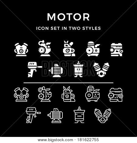Set icons of motor and engine in two styles isolated on black. Vector illustration