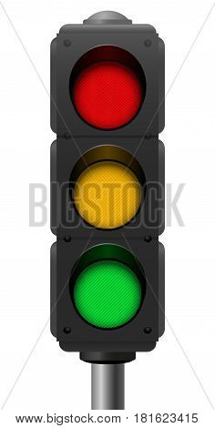 Traffic lights with three lights on - red, orange, green - ribbed surface - realistic three-dimensional isolated vector illustration on white background.